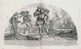 "Nicolas Mignard, Etching ""Odysseus Escaping Polyphemus"""