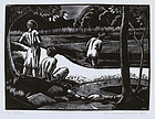 "John Buckland Wright, Wood Engraving, ""The Bathers"""