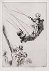 "Eileen Soper, Etching, ""The Boat Swing"" 1924"