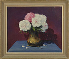 Arthur Herrick, Oil on Canvas, Still Life with Peonies