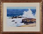 """Sears Gallagher, Watercolor, """"Surf, Monhegan"""" c. 1920"""
