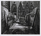 "Armin Landeck, Engraving, ""Rooftop and Skylights"" 1969"