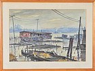 "Paul D. Ortlip, Watercolor, ""Hudson River Docks"""