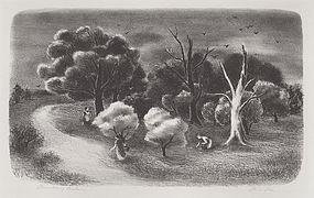 "Doris Lee, Lithograph, ""Strawberry Pickers"" 1938"