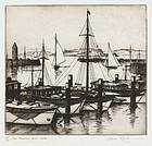 "Gene Kloss, Etching, ""San Francisco Yacht Harbor"" 1935"