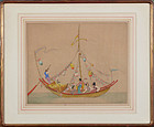 "Dorsey Potter Tyson, Color Etching, ""Sing Song Boat"""