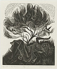 "Nora S. Unwin, Wood Engraving, ""Birds in the Bloom"""