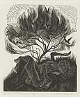 "Nora S. Unwin, Wood Engraving, ""Birds in the Bloom"""