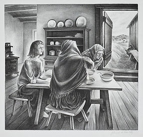 """John S. deMartelly, Lithograph, """"Give Us This Day"""" 1937"""