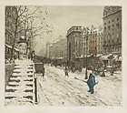 "T.F. Simon, Etching, ""Boulevard St Martin in Winter"""