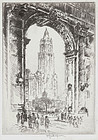"Joseph Pennell, ""The Woolworth, Through the Arch"""