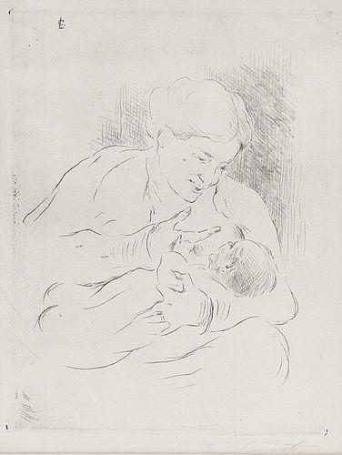 """Lovis Corinth, Etching, """"Munter Und Kind"""", 1910"""