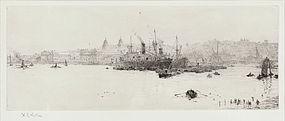 """William Wyllie, Etching, """"Sugar Boats off Greenwich"""""""