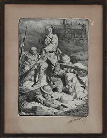 """Lucien Jonas, Lithograph, """"The Rampart of Verdun"""" 1916"""
