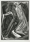 "Isaac Friedlander, Wood Engraving, ""Job (2:13)"""