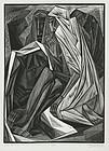 """Isaac Friedlander, Wood Engraving, """"Job (2:13)"""""""