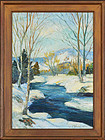 "Samuel E Armour, Oil on Canvas, ""Stream in Winter"""