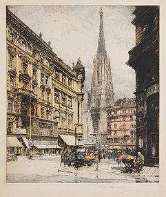 """Luigi Kasimir, Etching, """"St Stephen's Tower, Vienna"""""""