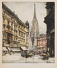 "Luigi Kasimir, Etching, ""St Stephen's Tower, Vienna"""