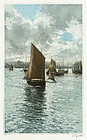 """Manuel Robbe, Etching, """"Fishing Boats in Harbor"""" 1919"""