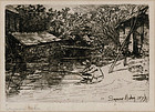 """Sir Francis Seymour Haden, Etching, """"Ye Compleat Angler"""""""