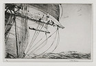 "Arthur J. T. Briscoe, Etching, ""Furling the Foresail"" 1924"