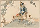 "Bertha Boynton Lum, Color Woodblock, ""The Piper"", 1916"