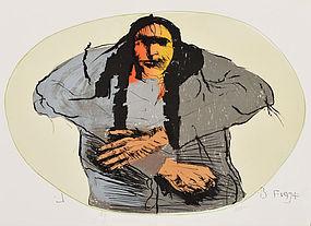 "Leonard Baskin, Lithograph, ""Sioux in Green Oval"" 1974"