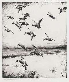 """Frank Benson, Etching, """"Here They Come!"""" 1928"""