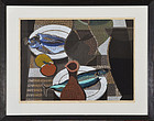 "Mabuchi Toro, Color Woodblock, ""Still Life with Fish"" 1963"