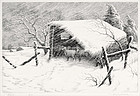 "Ronau William Woiceske, Etching, ""Refuge"" c. 1940"