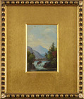 "Hudson River School, Oil on Academy Board, ""Hudson River Miniature"""