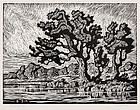 "Birger Sandzen, Linocut, ""Summertime"", 1928"