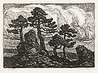 "Birger Sandzen, lithograph, ""Pines at Sunset"", c. 1930"