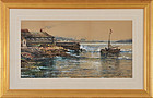 "Edmund Darch Lewis, watercolor, ""Narragansett Bay"" 1884"