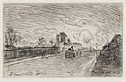 "Johan Barthold Jongkind, Etching, ""Sortie de la Maison Cochin"" 1878"