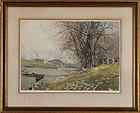 """Luigi Kasimir, Etching, """"Vienna, Danube Landscape"""" c. 1920"""
