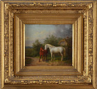 "19th Century European, oil on panel, ""Mare and Foal"""