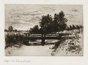 """Otto Bacher, Etching, """"The Bridge, Schleissheim"""" 1879"""