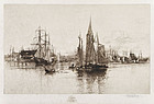 "Stephen Parrish, Etching, ""Gloucester Harbor"" 1887"