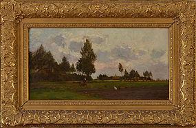 "Berend Adrianus Bongers, oil on canvas, ""Summer Harvest in the Hague"""