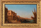 "19th Century European, oil, ""Doge's Palace from St Mark's Bay, Venice"""