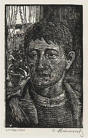 "Albert Abramovitz, Linocut, ""Worker's Head"""