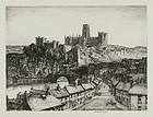 "Sir Henry George Rushbury, etching, ""The City of Durham"" 1934"