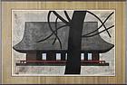 "Kiyoshi Saito, color woodblock, ""Temple"" 1955"