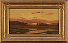 "Charles Volkmar, oil on canvas, ""River View at Sunset"""