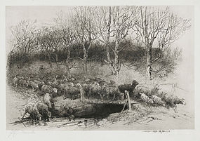 "John Austin Sands Monks, etching, ""Herd Returning Home"""