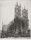 "Hopper Emory, etching, ""Westminster Abbey, London"" c. 1930"