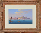 "19th Century Italian, gouache on paper, ""View o fthe Amalfi Coast"""