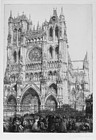 "Auguste-Louis Lepere, etching, ""Amiens Cathedral (Jour d'Inventaire)"""